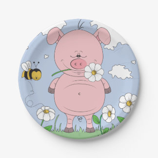 Cheerful Pink Pig Cartoon 7 Inch Paper Plate