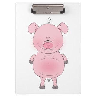 Cheerful Pink Pig Cartoon Clipboard