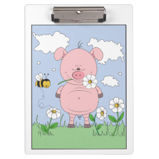 Cheerful Pink Pig Cartoon Clipboards
