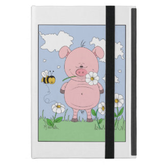 Cheerful Pink Pig Cartoon Cover For iPad Mini