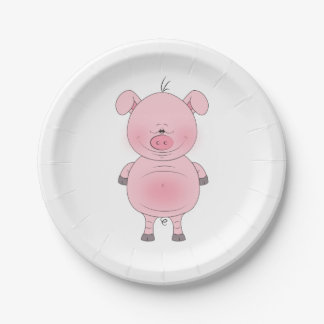 Cheerful Pink Pig Cartoon Paper Plate
