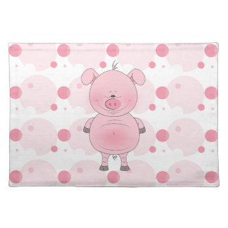 Cheerful Pink Pig Cartoon Place Mat