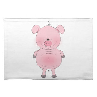 Cheerful Pink Pig Cartoon Placemat