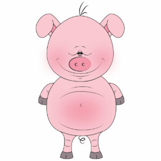 Cheerful Pink Pig Cartoon Standing Photo Sculpture