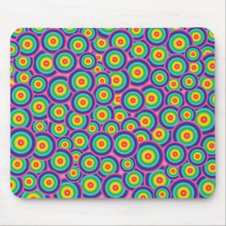 Cheerful pink rainbow bubble mouse pad