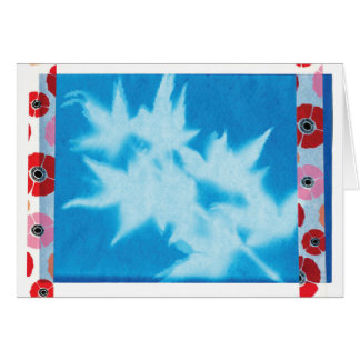 Cheerful Poppies & Maple Leaf Abstract Blank Card