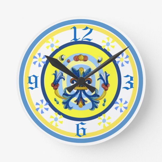 Cheerful Pottery Pattern Clock