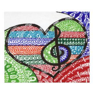Cheerful Rainbow Music Heart Doodle Personalizable Art Photo
