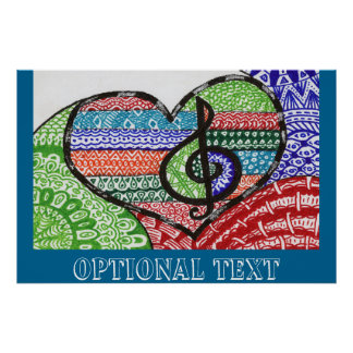 Cheerful Rainbow Music Heart Doodle Personalizable Poster