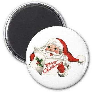 Cheerful Retro Santa Claus Round Magnet