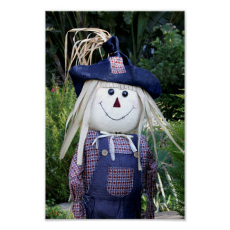 Cheerful Scarecrow in Blue Fall Poster