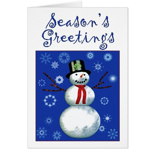 cheerful snowman on blue with snowflakes card