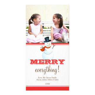 Cheerful snowman red white Christmas holiday photo Photo Greeting Card