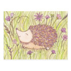 Cheerful Springtime Hedgehog Postcard