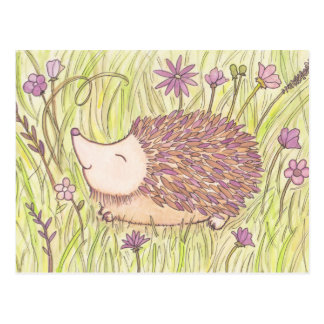 Cheerful Springtime Hedgehog Postcard