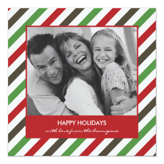 Cheerful Stripe Christmas Card/Holiday Photo Cards 13 Cm X 13 Cm Square Invitation Card