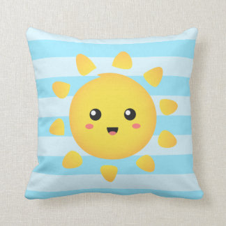 Cheerful sun that shines brightly all around throw pillow