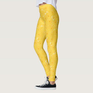 Cheerful sunny yellow dandelion pattern leggings