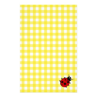 Cheerful Sunny Yellow Gingham with Ladybug Customised Stationery
