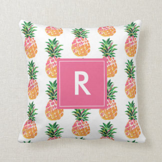 Cheerful Tropical Pineapple with Custom Monogram Cushion