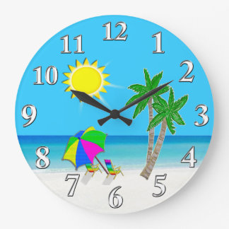 Cheerful Turquoise Wall Clocks Beach Theme