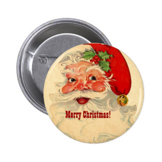 Cheerful Vintage Santa Smiling Pattern CH02 Custom 6 Cm Round Badge