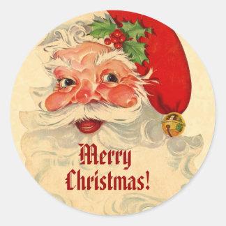 Cheerful Vintage Santa Smiling Pattern CH02 Custom Round Sticker
