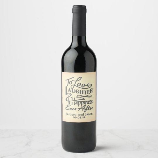 Cheerful wedding wish design wine label