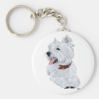 Cheerful West Highland White Terrier Basic Round Button Key Ring