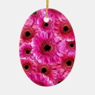 Cheerful Wow Pink Floral Macro Collage Christmas Ornaments