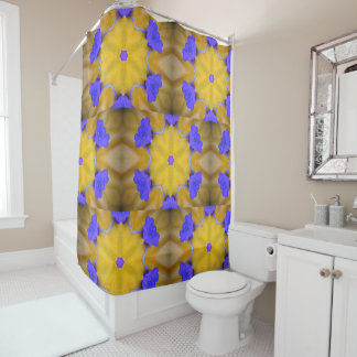 Cheerful Yellow And Blue Patterned Shower Curtain