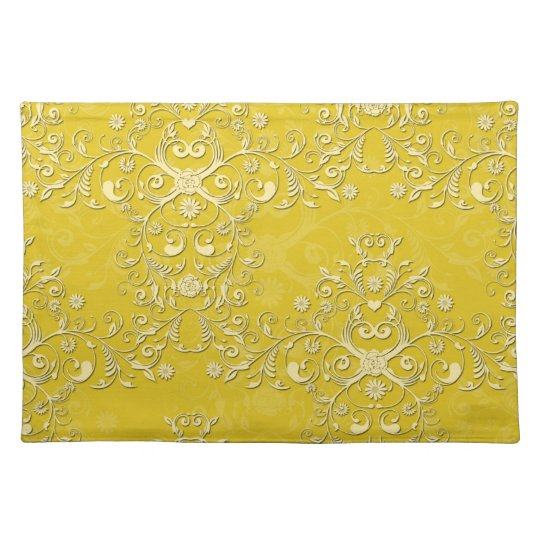 Cheerful Yellow Floral Damask Place Mats