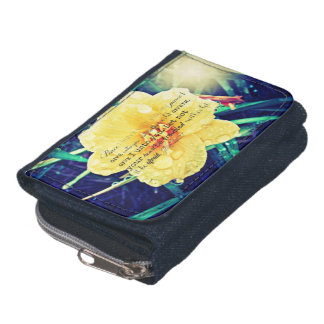 Cheerful Yellow Flower w/ encouraging Bible Verse Wallets