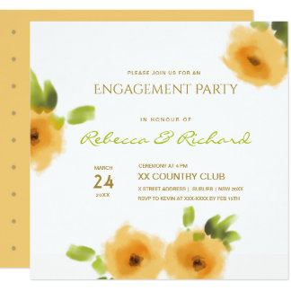 CHEERFUL YELLOW ORANGE FLOWERS ENGAGEMENT CARD