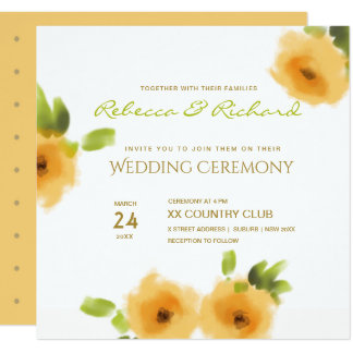 CHEERFUL YELLOW ORANGE FLOWERS WEDDING INVITATION