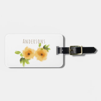 CHEERFUL YELLOW ORANGE WATERCOLOUR FLOWER MONOGRAM LUGGAGE TAG
