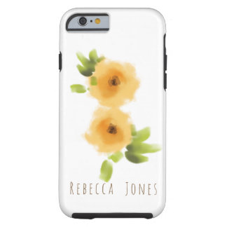 CHEERFUL YELLOW ORANGE WATERCOLOUR FLOWER MONOGRAM TOUGH iPhone 6 CASE