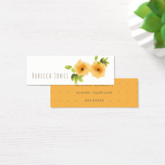 CHEERFUL YELLOW ORANGE WATERCOLOUR FLOWERS ADDRESS MINI BUSINESS CARD