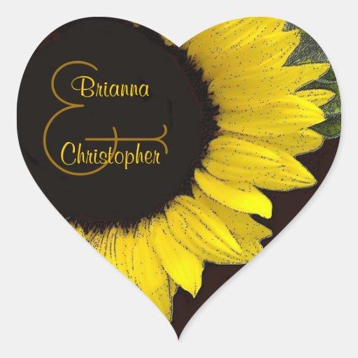 Cheerful Yellow Sunflower Heart Wedding Sticker
