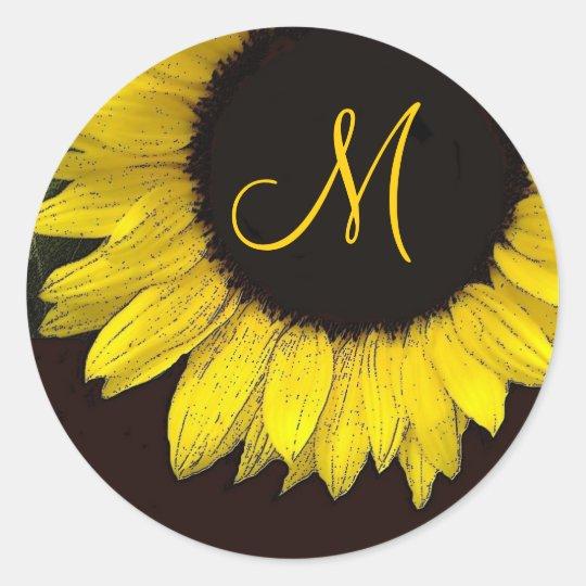 Cheerful Yellow Sunflower Wedding Monogram Classic Round Sticker
