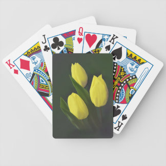 Cheerful Yellow Tulip Flower Bicycle Playing Cards