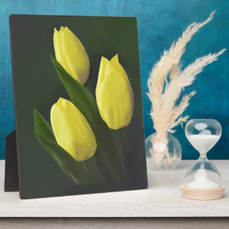 Cheerful Yellow Tulip Flower Plaque