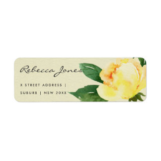 CHEERFUL YELLOW WATERCOLOR FLORAL ADDRESS