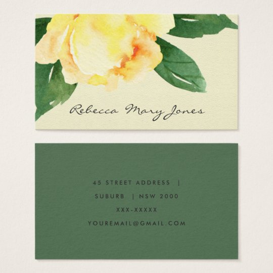 CHEERFUL YELLOW WATERCOLOR FLORAL ADDRESS BUSINESS CARD