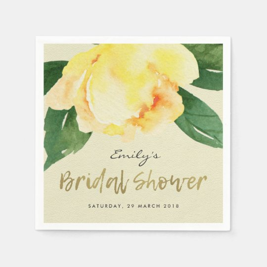 CHEERFUL YELLOW WATERCOLOR FLORAL BRIDAL SHOWER PAPER NAPKIN