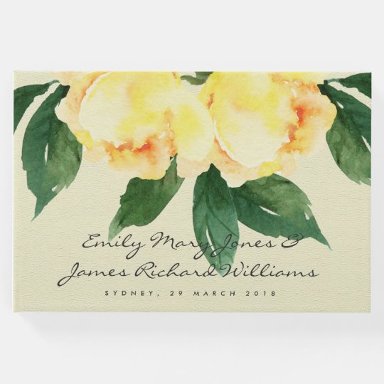 CHEERFUL YELLOW WATERCOLOR FLORAL  PERSONALIZED GUEST BOOK