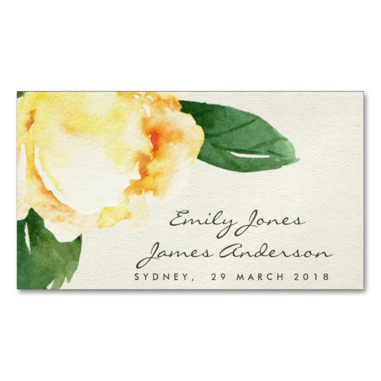 CHEERFUL YELLOW WATERCOLOR FLORAL SAVE THE DATE 	Magnetic BUSINESS CARD