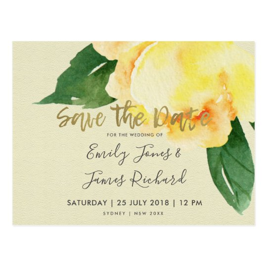 CHEERFUL YELLOW WATERCOLOR FLORAL SAVE THE DATE POSTCARD