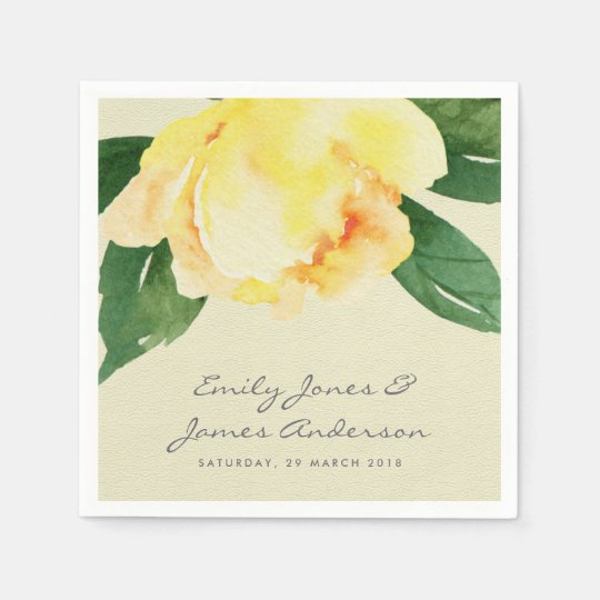 CHEERFUL YELLOW WATERCOLOUR FLORAL PERSONALIZED DISPOSABLE SERVIETTE