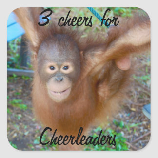 Cheering for Cheerleaders Square Sticker